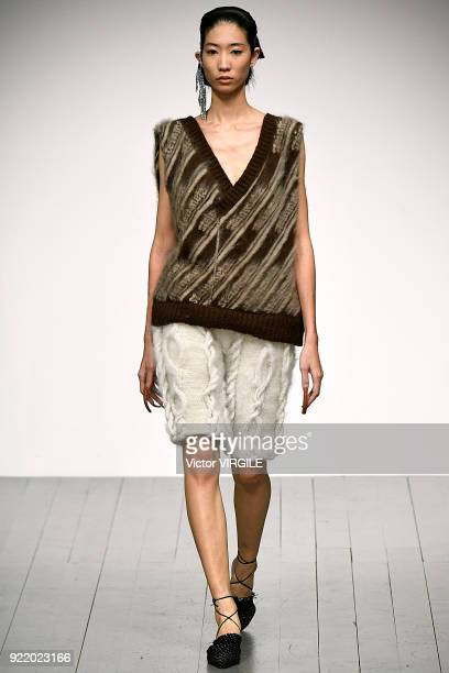 A model walks the runway at the Faustine Steinmetz Ready to Wear Fall/Winter 20182019 fashion show during London Fashion Week February 2018 on...