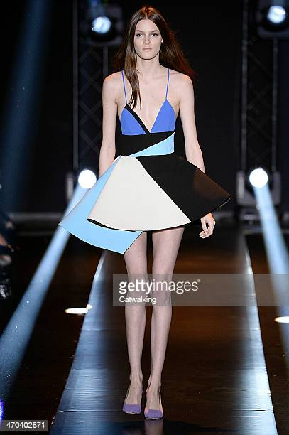 Model walks the runway at the Fausto Puglisi Autumn Winter 2014 fashion show during Milan Fashion Week on February 19, 2014 in Milan, Italy.