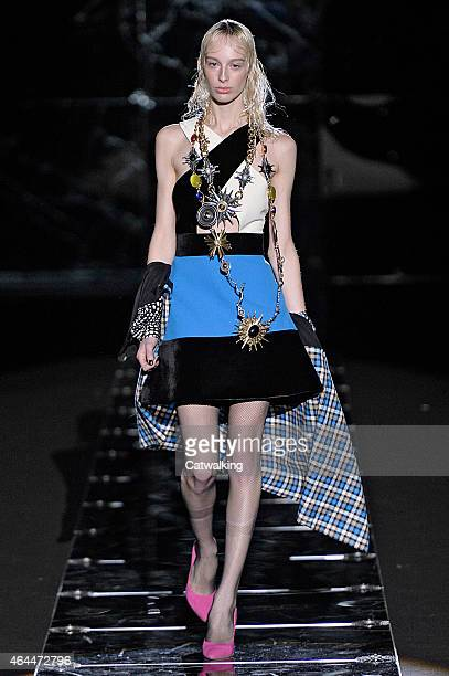 Model walks the runway at the Fausto Puglisi Autumn Winter 2015 fashion show during Milan Fashion Week on February 25, 2015 in Milan, Italy.