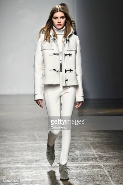 Model walks the runway at the Fay Autumn Winter 2017 fashion show during Milan Fashion Week on February 22, 2017 in Milan, Italy.