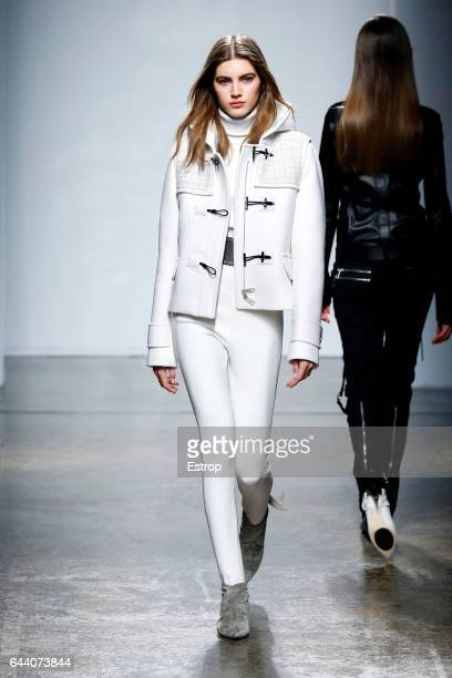 Model walks the runway at the Fay designed by Tommaso Aquilano & Roberto Rimondi show during Milan Fashion Week Fall/Winter 2017/18 on February 22,...