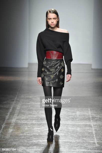 Model walks the runway at the Fay show during Milan Fashion Week Fall/Winter 2017/18 on February 22, 2017 in Milan, Italy.