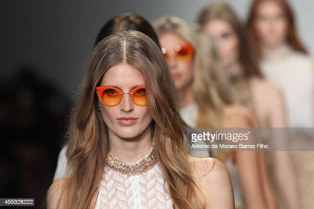 Model walks the runway at the Felder.Felder show during London Fashion Week Spring Summer 2015 at Somerset House on September 12, 2014 in London,...