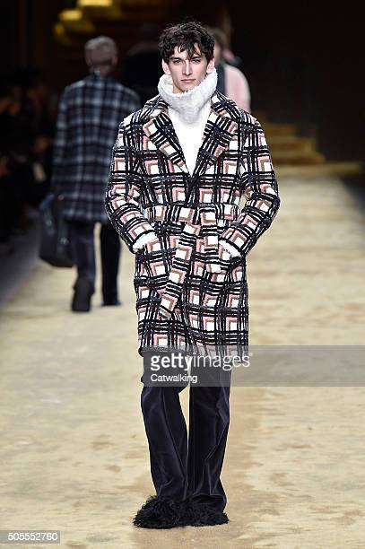 A model walks the runway at the Fendi Autumn Winter 2016 fashion show during Milan Menswear Fashion Week on January 18 2016 in Milan Italy