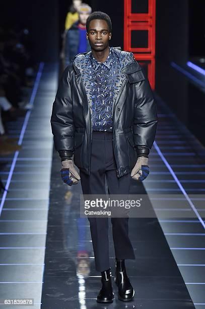 Model walks the runway at the Fendi Autumn Winter 2017 fashion show during Milan Menswear Fashion Week on January 16, 2017 in Milan, Italy.