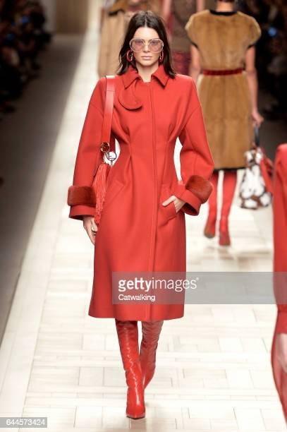 A model walks the runway at the Fendi Autumn Winter 2017 fashion show during Milan Fashion Week on February 23 2017 in Milan Italy
