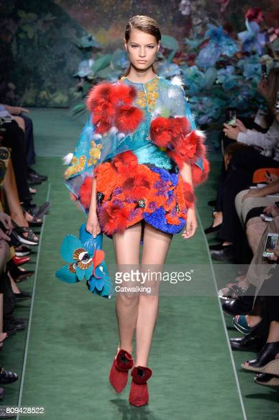 A model walks the runway at the Fendi Autumn Winter 2017 fashion show during Paris Haute Couture Fashion Week on July 5 2017 in Paris France