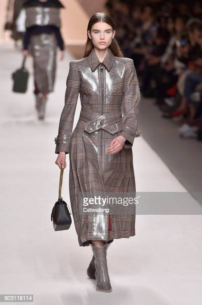 A model walks the runway at the Fendi Autumn Winter 2018 fashion show during Milan Fashion Week on February 22 2018 in Milan Italy