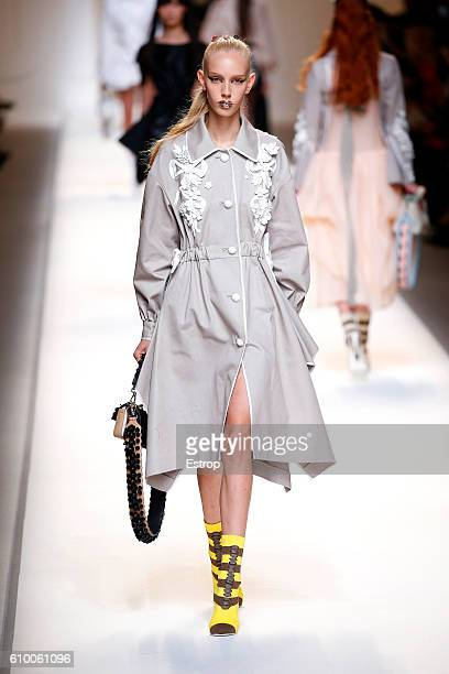 A model walks the runway at the Fendi designed by Silvia Venturini Fendi Karl Lagerfeld show Milan Fashion Week Spring/Summer 2017 on September 22...