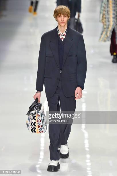 Model walks the runway at the Fendi Fall/Winter 2020-2021 fashion show during Milan Men's Fashion Week on January 13, 2020 in Milan, Italy.