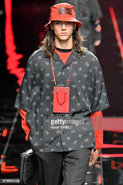 A model walks the runway at the Fendi fashion show during Milan Men's Fashion Week Spring/Summer 2019 on June 18 2018 in Milan Italy