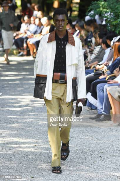 Model walks the runway at the Fendi fashion show during the Milan Men's Fashion Week Spring/Summer 2020 on June 17, 2019 in Milan, Italy.