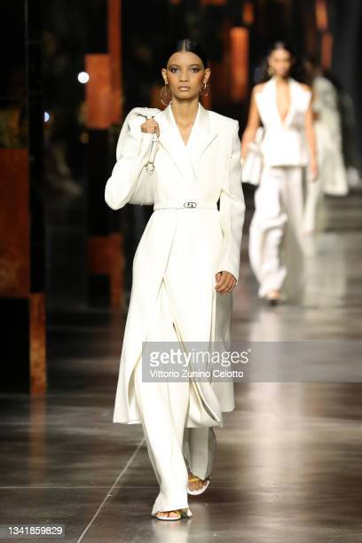 Model walks the runway at the Fendi fashion show during the Milan Fashion Week - Spring / Summer 2022 on September 22, 2021 in Milan, Italy.
