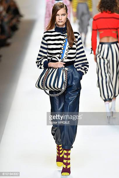 A model walks the runway at the Fendi Ready to Wear designed by Silvia Venturini Fendi Karl Lagerfeld show Milan Fashion Week Spring/Summer 2017 on...
