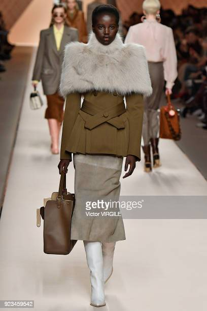 A model walks the runway at the Fendi Ready to Wear Fall/Winter 20182019 fashion show during Milan Fashion Week Fall/Winter 2018/19 on February 22...