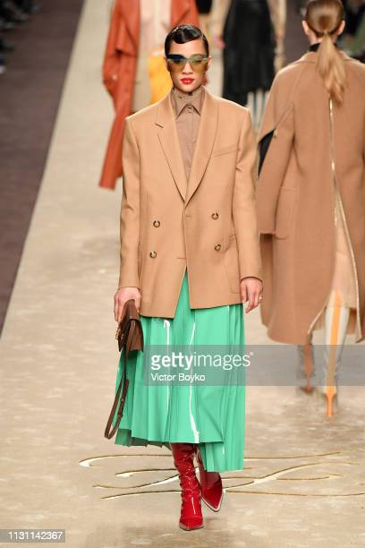 A model walks the runway at the Fendi show at Milan Fashion Week Autumn/Winter 2019/20 on February 21 2019 in Milan Italy