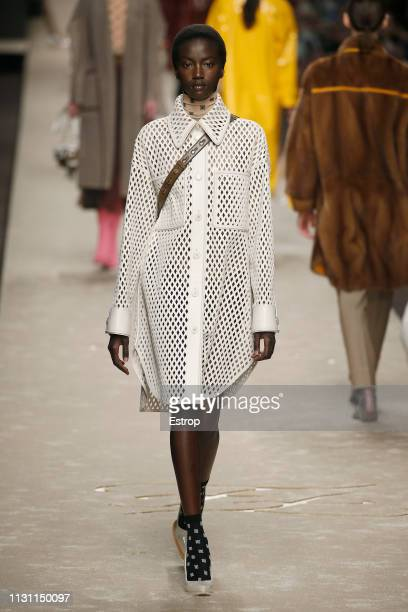 Model walks the runway at the Fendi show at Milan Fashion Week Autumn/Winter 2019/20 on February 20, 2019 in Milan, Italy.