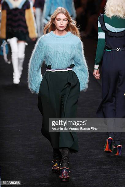 A model walks the runway at the Fendi show during Milan Fashion Week Fall/Winter 2016/17 on February 25 2016 in Milan Italy