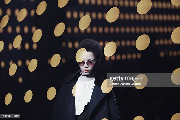 Model walks the runway at the Fendi show during Milan Fashion Week Fall/Winter 2016/17 on February 25, 2016 in Milan, Italy.