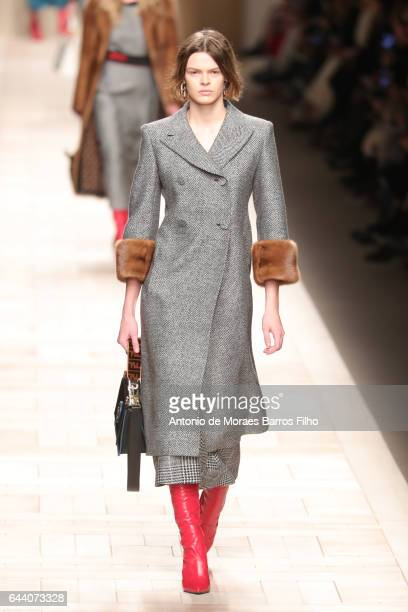 A model walks the runway at the Fendi show during Milan Fashion Week Fall/Winter 2017/18 on February 23 2017 in Milan Italy