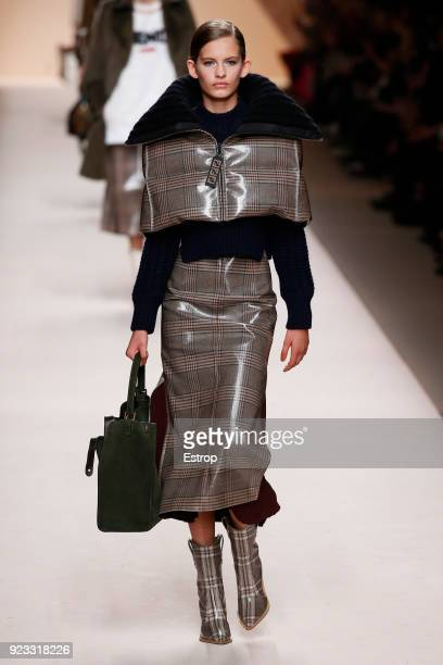 A model walks the runway at the Fendi show during Milan Fashion Week Fall/Winter 2018/19 on February 22 2018 in Milan Italy