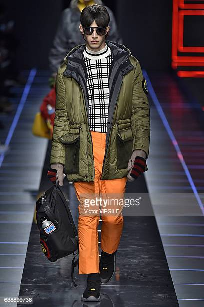 A model walks the runway at the Fendi show during Milan Men's Fashion Week Fall/Winter 2017/18 on January 16 2017 in Milan Italy
