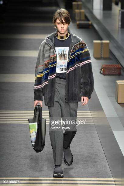 A model walks the runway at the Fendi show during Milan Men's Fashion Week Fall/Winter 2018/19 on January 15 2018 in Milan Italy
