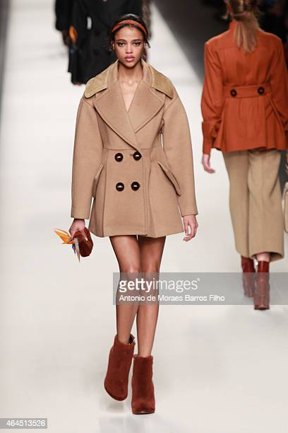 Model walks the runway at the Fendi show during the Milan Fashion Week Autumn/Winter 2015 on February 26, 2015 in Milan, Italy.