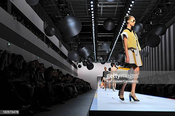 A model walks the runway at the Fendi Spring Summer 2013 fashion show during Milan Fashion Week on September 22 2012 in Milan Italy