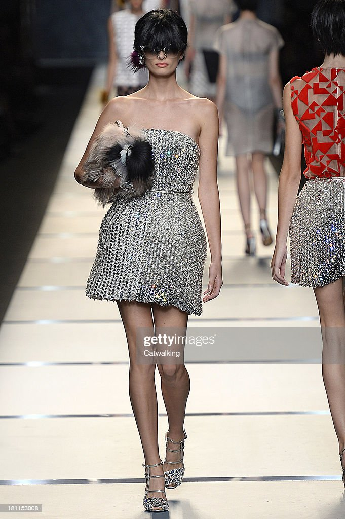 a5574313e7a A model walks the runway at the Fendi Spring Summer 2014 fashion show  during Milan Fashion