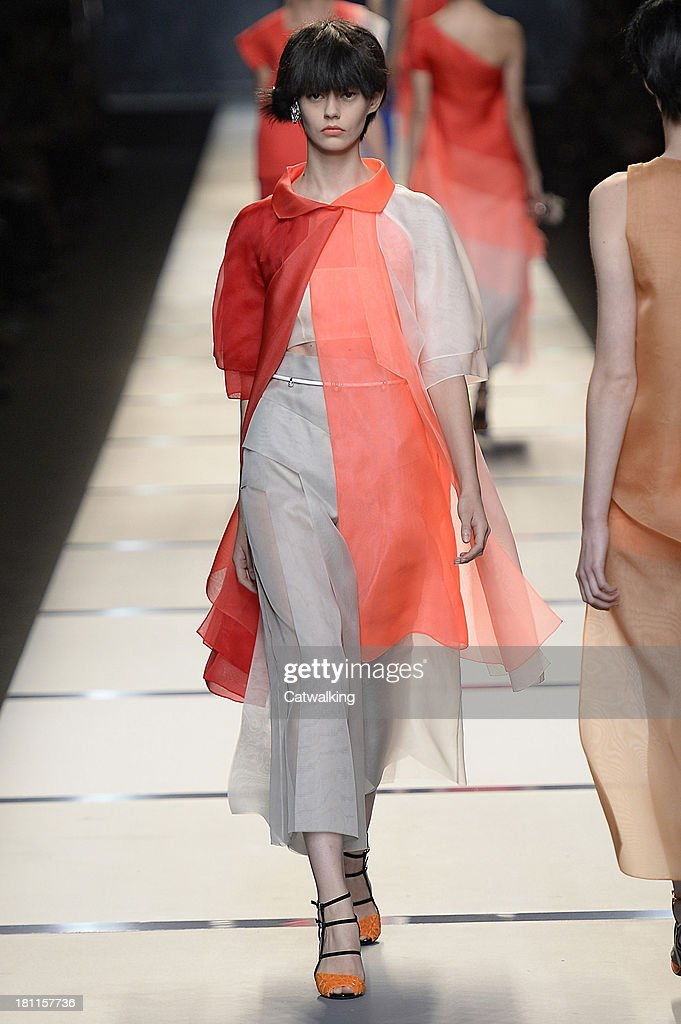 8b37dbec0b9 A model walks the runway at the Fendi Spring Summer 2014 fashion ...