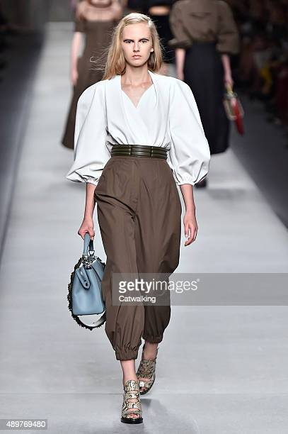 A model walks the runway at the Fendi Spring Summer 2016 fashion show during Milan Fashion Week on September 24 2015 in Milan Italy