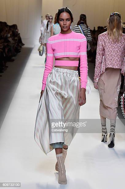 A model walks the runway at the Fendi Spring Summer 2017 fashion show during Milan Fashion Week on September 22 2016 in Milan Italy