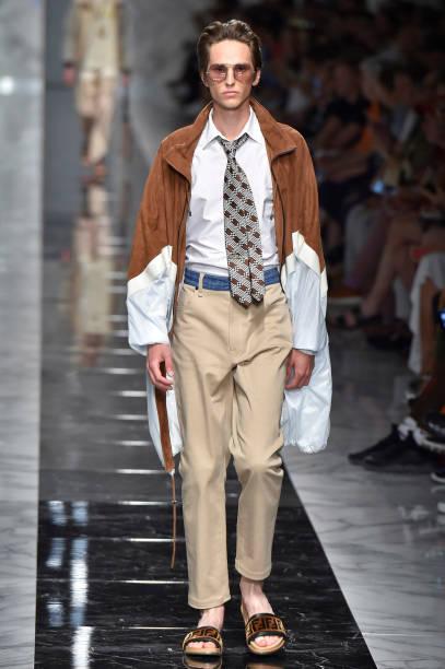 0dba524583 A model walks the runway at the Fendi Spring Summer 2018 fashion show  during Milan Menswear