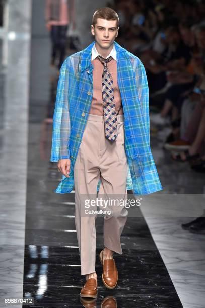 Model walks the runway at the Fendi Spring Summer 2018 fashion show during Milan Menswear Fashion Week on June 19, 2017 in Milan, Italy.