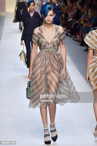 Model walks the runway at the Fendi Spring Summer 2018 fashion show during Milan Fashion Week on September 21, 2017 in Milan, Italy.