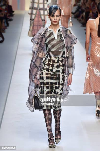 A model walks the runway at the Fendi Spring Summer 2018 fashion show during Milan Fashion Week on September 21 2017 in Milan Italy