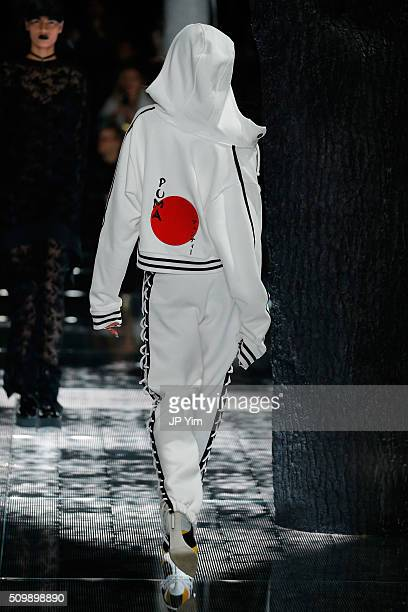 A model walks the runway at the FENTY PUMA by Rihanna AW16 Collection during Fall 2016 New York Fashion Week at 23 Wall Street on February 12 2016 in...