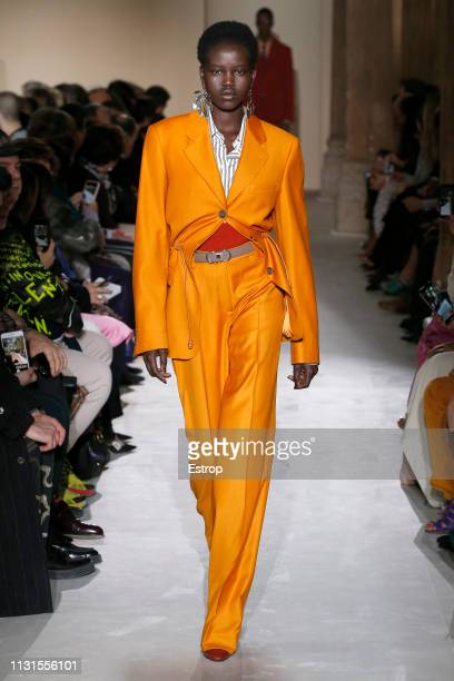 A model walks the runway at the Ferragamo show at Milan Fashion Week Autumn/Winter 2019/20 on February 20 2019 in Milan Italy
