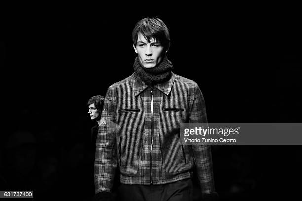 Model walks the runway at the Ferragamo show during Milan Men's Fashion Week Fall/Winter 2017/18 on January 15, 2017 in Milan, Italy.
