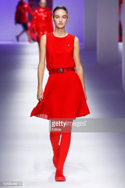 A model walks the runway at the Fila show during Milan Fashion Week Spring/Summer 2019 on September 23 2018 in Milan Italy