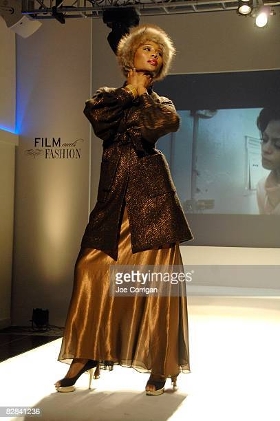 A model walks the runway at the Film Meets Fashion party on the closing night of the 2008 Urbanworld Film Festival at Espace on September 13 2008 in...