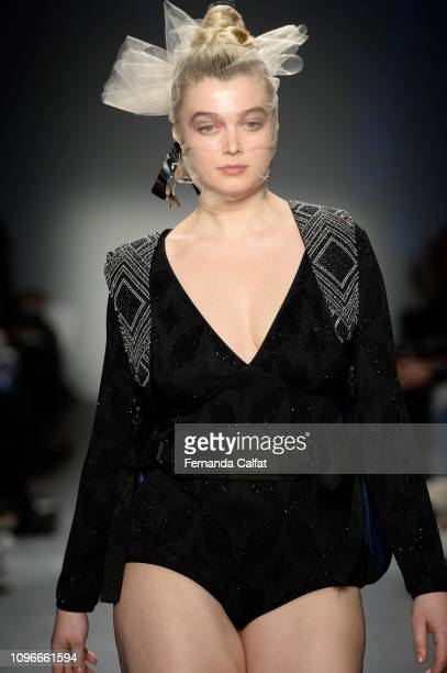 A model walks the runway at the Flying Solo Fashion Show during NYFW February 2019 at Pier 59 on February 9 2019 in New York City