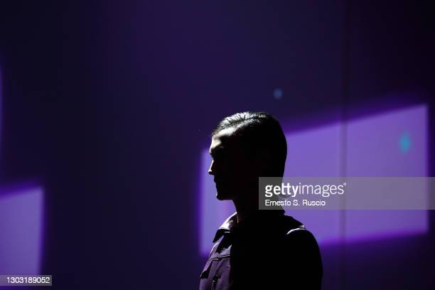 """Model walks the runway at the Francesca Cottone """"L'Anima: Istinto E Ragione"""" Fashion Show during Altaroma 2021 on February 20, 2021 in Rome, Italy."""