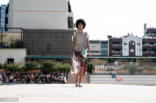 A model walks the runway at the Francesca Liberatore fashion show during the Milan Fashion Week Spring/Summer 2020 on September 18 2019 in Milan Italy