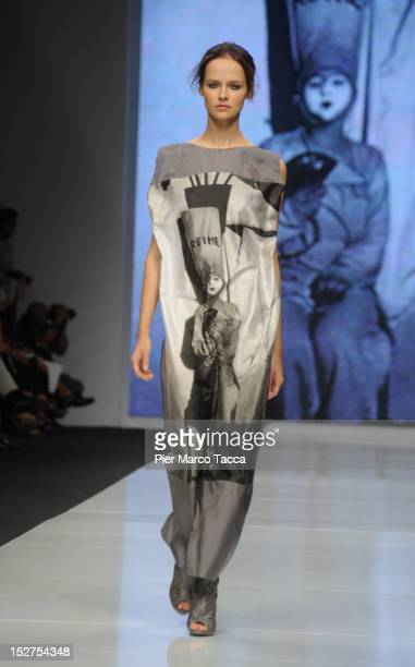 Model walks the runway at the Francesca Liberatore New Upcoming Designers Spring/Summer 2013 fashion show as part of Milan Womenswear Fashion Week on...