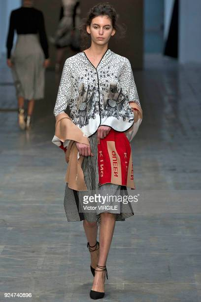 A model walks the runway at the Francesca Liberatore Ready to Wear Fall/Winter 20182019 fashion show during Milan Fashion Week Fall/Winter 2018/19 on...