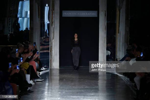 A model walks the runway at the Francesca Liberatore show at Milan Fashion Week Autumn/Winter 2019/20 on February 22 2019 in Milan Italy