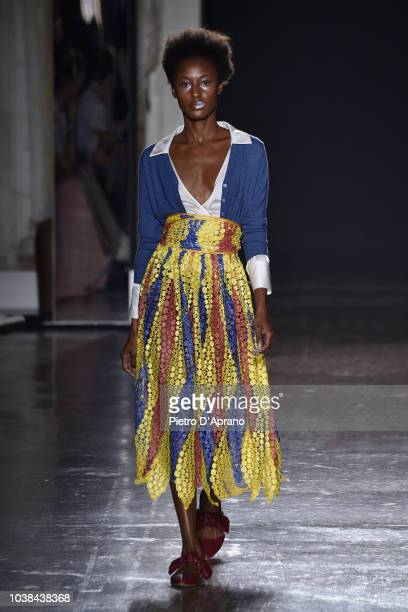 A model walks the runway at the Francesca Liberatore show during Milan Fashion Week Spring/Summer 2019 on September 23 2018 in Milan Italy