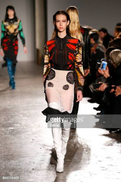 A model walks the runway at the Francesco Scognamiglio show during Milan Fashion Week Fall/Winter 2017/18 on February 22 2017 in Milan Italy